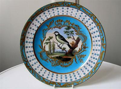 Superb Antique 18thC Vincennes Sevres Bird Study Jewelled Cabinet Plate - c1750
