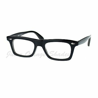 Black Rectangular Clear Lens Glasses Thick Horn Rim Frame Eyeglasses