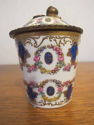 18thC SEVRES PORCELAIN HANDPAINTED & ORMOLU MOUNTED CUP / JAR & COVER