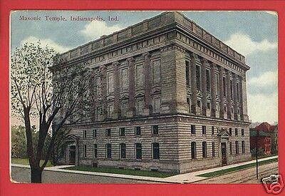 INDIANAPOLIS INDIANA MASONIC TEMPLE MAJESTIC PUBL TROY OH DOLL 1909  POSTCARD