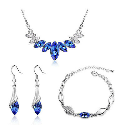 Royal Blue & Silver Crystal Jewellery Set Drop Earrings Bracelet & Necklace S671