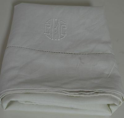 "GORGEOUS HEIRLOOM HANDMADE PILLOWCASE WITH HOMESPUN LINEN- ""EEMc"" MONOGRAM LL30"
