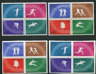 POLAND 1960 ROME OLYMPIC GAMES MINT COMPLETE SET OF 8 STAMP BOTH PERF & IMPERF!