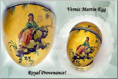 Antique French Silver Mounted Vernis Martin Egg HP Gilt