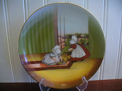 1974 Royal Bayreuth Fine China Sun-Bonnet Babies Friday Sweeping Plate