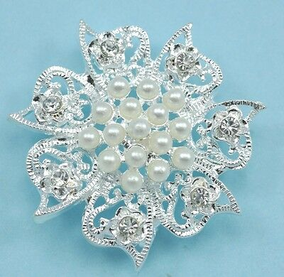 5x 3-strand Rhinestone Diamante Pearl Flower Silver Plated Connectors Joiners