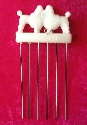 Vintage White Celluloid Poodle Hair Comb Pick By Kortell & Co. - GlamourLift