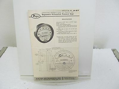 Dwyer Magnehelic Differential Pressure Gage Operating Instruction & Parts List