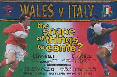 WALES v ITALY 1998 RUGBY POSTER - A2 SIZE