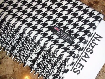 100% CASHMERE Scarf BLACK WHITE HOUNDSTOOTH Made in SCOTLAND Warm Wool 64