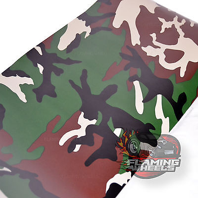 1.5m x 2m army camouflage matte woodland tree camo car wrap vinyl V2 + SQUEEGEE