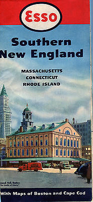 1950 Esso Southern New England Vintage Road Map /Faneuil Hall, Boston on Cover