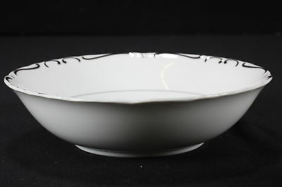 NOS Ucagco China Dinnerware EMBASSY Round Vegetable Serving Bowl White Silver