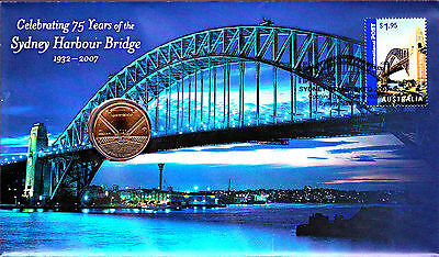 2007 Sydney Harbour Bridge 75 Years FDC/PNC With Limited Edition $1 Coin