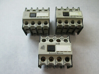 Klockner Moeller 22 DIL M Top Mount Auxiliary Contact 2 N.O. and 2 N.C. Contacts