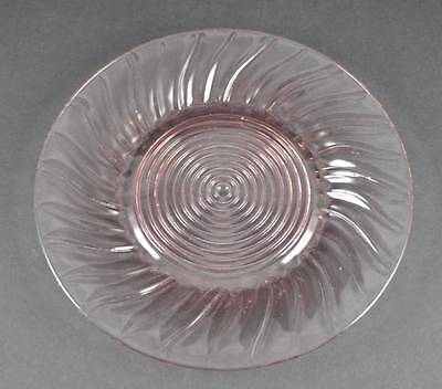 "Vintage Jeannette Pink Depression Swirl Dinner Plate Pressed Glass 9 1/4"" P13"