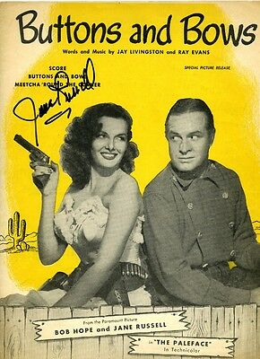 JANE RUSSELL PALEFACE ORIGINAL SIGNED SHEET MUSIC AUTOGRAPHED BUTTONS AND BOWS
