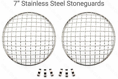 "7"" Stainless Steel Stoneguards Stone Guard Headlight/headlamps Classic Mini"