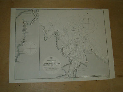 Vintage Admiralty Chart 1057 AUSTRALIA - LIVERPOOL RIVER 1893 edition