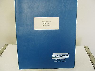 Dynatronix DP20-5-10 Power Supply Owner's Manual w/schematics