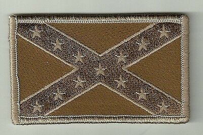 """2"""" x 3 1/8"""" Desert Tan Confederate Flag Stars and Bars Morale Velcro Patch"""