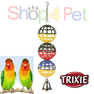 TRIXIE HANGING 3 LATTICE BALLS & BELL VARIOUS COLOURS* SMALL BIRDS, BUDGIES etc