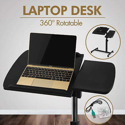 Mobile Laptop Desk Adjustable Notebook Computer iPad PC Stand Table Cooler Fan