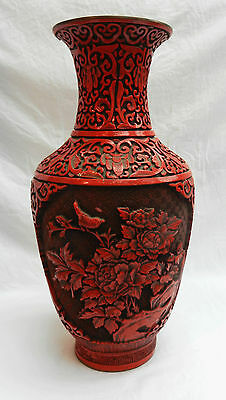 Stunning Large 13 inch Deeply Carved Chinese Cinnabar Lacquer Vase c 1900