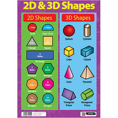 2D & 3D Shapes - EDUCATIONAL MATHS POSTER - Numeracy Teaching Resource Revision