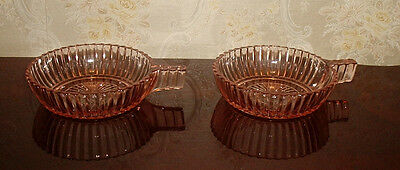 Anchor Hocking Pink Queen Mary One Handle Small Fruit Bowls
