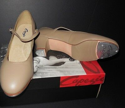 NEW/BOX Capezio 561 Character Tap Shoes Tan Tap Jr. Footlight Leather upper