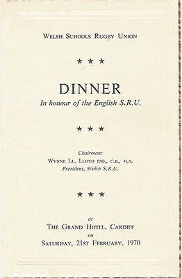 WALES v ENGLAND 21 Feb 1970 SCHOOLS UNDER 16s RUGBY DINNER MENU CARD