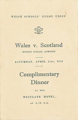 WALES v SOUTH of SCOTLAND SCHOOLS 21 Apr 1951 UNDER 16s RUGBY DINNER MENU CARD
