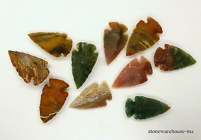 ~ 10 pieces lot ~ AGATE FLINT STONE ARROWHEADS / SPEARPOINTS REPLICAS 1 1/4""
