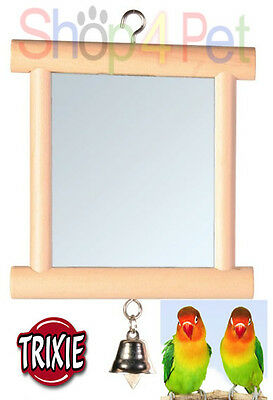 TRIXIE WOOD MIRROR with BELL - BUDGIE, CANARY or SMALL BIRDS, FUN FOR YOUR BIRD