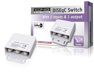 Konig 2 Way  DiSEqC V2.0 Satellite Dish Switch 100W  - 2 Inputs and 1 Output