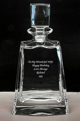 Personalised Medium Size 24% Lead Crystal Whisky Glass Decanter, Engraved Gift