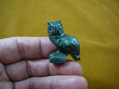 (Y-BIR-OW-14) baby gray HORNED OWL carving SOAPSTONE Peru I love little owls