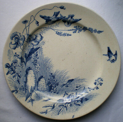 RARE French Majolica blue plate signed Bordeaux VIEILLARD: Birds and Poppies