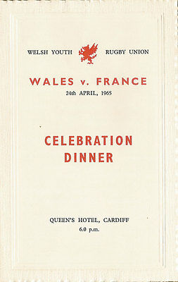 WALES v FRANCE 24 Apr 1965 YOUTH UNDER 19 RUGBY DINNER MENU CARD