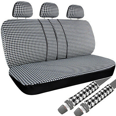 8 Piece Houndstooth Low Back Rear Bench Auto Truck Seat Cover Plus Head Rests 5D