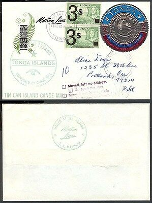 Tonga 1969 Matson Line Tin Can Mail Cover To Us (Id:183/d28884)