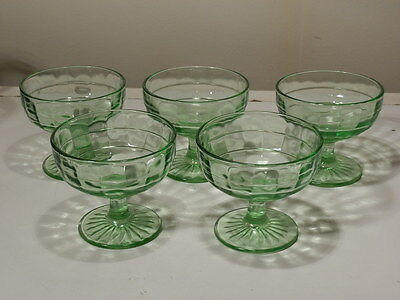 SET OF 5 ANCHOR HOCKING BLOCK OPTIC GREEN DEPRESSION GLASS SHERBETS EXCELLENT