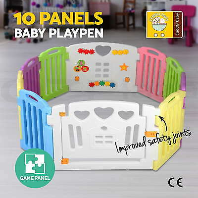 10 Panel Interactive Baby Playpen Kids Toddler Plastic Gate Safety Lock Divider