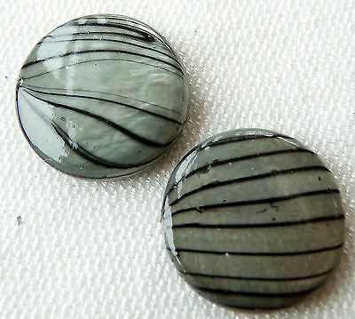 18(mm) PRINTED SHELL FLAT ROUND DISC BEADS - STRIPY CHARCOAL GREY - S026 - 10PCS