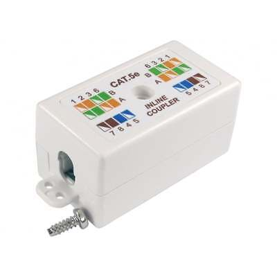 RJ45 Cat 5e WHITE Inline Punchdown Krone Coupler Connects Cat5 Cables Together