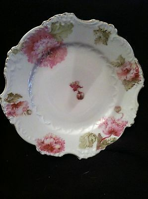 Antique Porcelain Handpainted Plate, Made in Germany, Pink Peonies