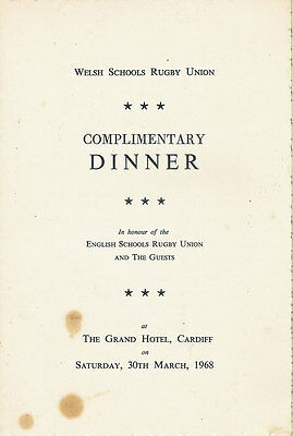 WALES v ENGLAND 30 Mar 1968 SCHOOLS UNDER 16s RUGBY DINNER MENU CARD