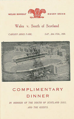 WALES v SOUTH of SCOTLAND 28 Feb 1959 SCHOOLS UNDER 16s RUGBY DINNER MENU CARD