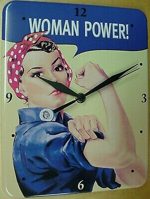 WE CAN DO IT WOMAN POWER Blech Uhr Flach Neu  20x26cm U518